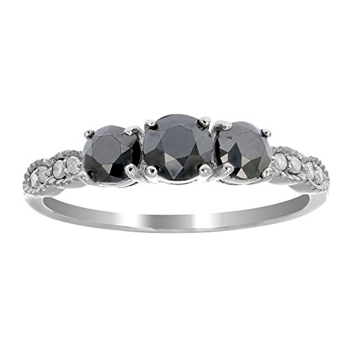 Sterling Silver 3 Stone Black and White Diamond Ring (1 CT) In Size 7