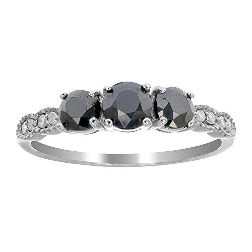 1 CT 3 Stone Black Diamond Ring With Milgrain Sterling Silver In Size 8 - Black Diamond Stones