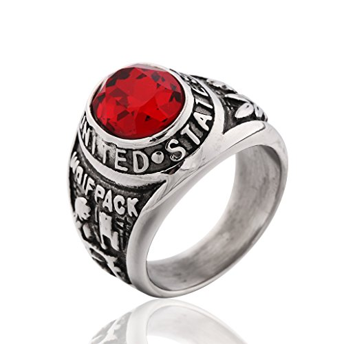 MASOP Private United States US Army Ring Engraved Wolfpack Mens Ring Red Ruby Color CZ Size 8