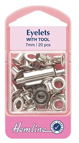 Hemline H437/SIL | Nickel Small Eyelets With Tool | 7mm | 20 Pieces Groves