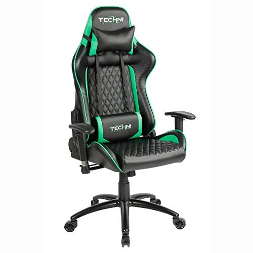 Techni Sport TS-5000 Ergonomic High Back Racer Style Video Gaming Chair. in Color Green