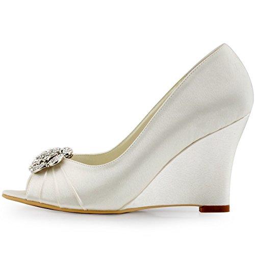 Elegantpark WP1547 Mujer Fiesta Cuña AF01 Desmontable Flores Rhinestone Zapatos Clips Satén Zapatos De Boda Ivoire