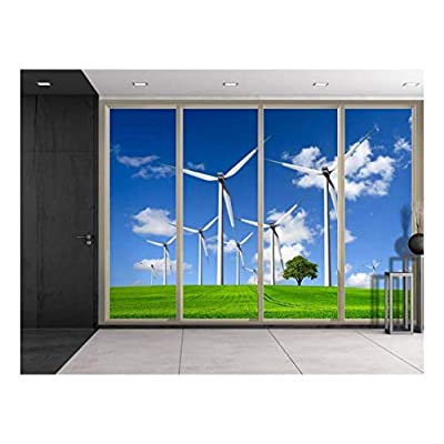 Incredible Handicraft, Lone Tree on a Field with Plains Viewed from Sliding Door Creative Wall Mural Peel and Stick Wallpaper, That's 100% USA Made