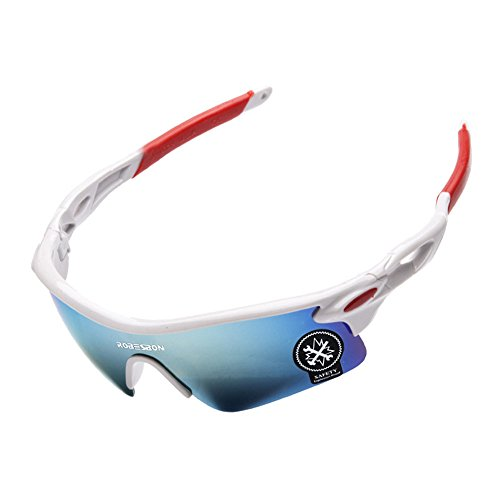 KXN Polarized Cycling Outdoor Sports Sunglasses for men women Baseball Running Cycling Fishing Golf TR (Blue&White Lens - Running Sunglasses Inexpensive