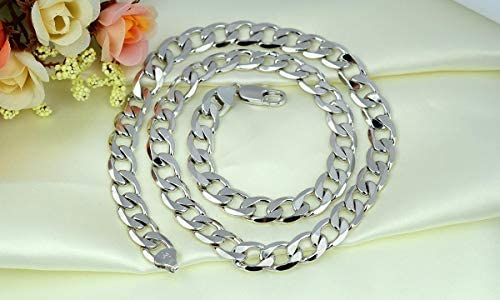 39b2b1033 Massive 18K White Gold Filled Mens Necklace Cuban Curb Link Chain 24