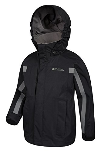 Mountain Weather All Seams Adjustable Kids Warehouse Waterproof Taped Pockets Samson Jacket Cold Childrens Season Ideal Coat Cuffs Adjustable Hood Jacket Black amp; for rn1r0qw6a