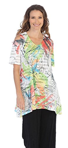 Double Knit A-line - Jess & Jane Women's Double Knit Cold Shoulder A-Line Tunic (2X, Lily)