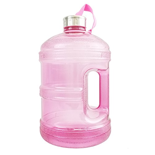 1/2 Gallon BPA FREE Reusable Plastic Drinking Water Bottle w/ Stainless Steel Cap - 64 oz. - Pink