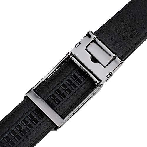 Men's Comfort Genuine Leather Ratchet Dress Belt with Automatic Click Buckle (Suit Pant Size 28″-44″, Style 23 -Black)