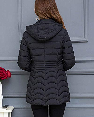 Noire Women Légère Manteau Outwear Zhuikuna Long Chaude Veste Veste Épaissie Udnqw8H