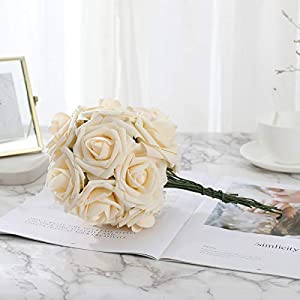 DerBlue 60pcs Artificial Roses Flowers Real Looking Fake Roses Artificial Foam Roses Decoration DIY for Wedding Bouquets Centerpieces,Arrangements Party Home Decorations 4