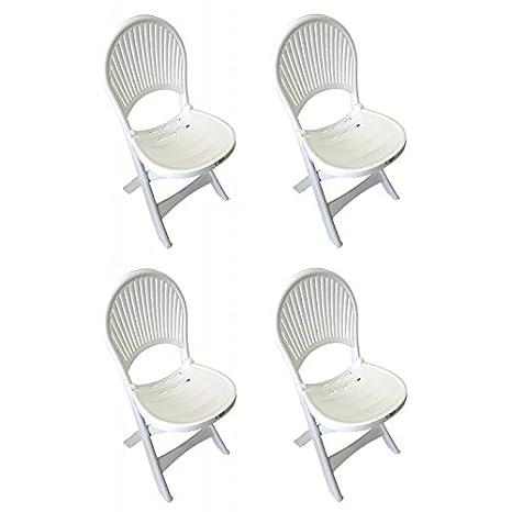 greenazur - 4 sillas de jardín plástico plegable Bravo ...