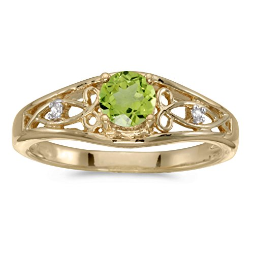 0.42 Carat ctw 14k Gold Round Green Peridot & Diamond Accent Swirl Filigree Bypass Fashion Promise Ring - Yellow-gold, Size (Diamond Swirl Promise Ring)