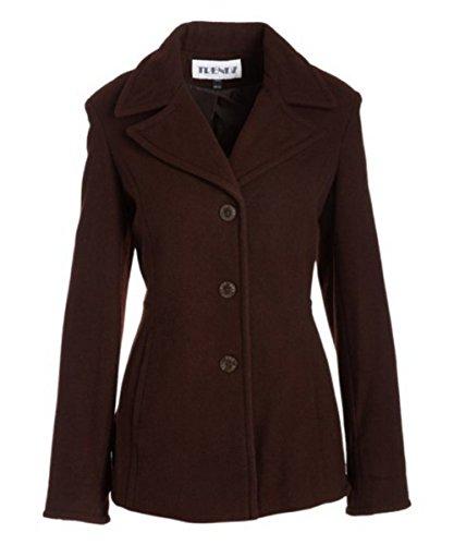 Button Cuff Wool Coat (Trendz Women's Ladies Wool Coat, Brown, Small)