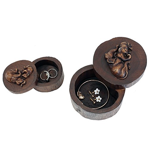 DesignSter Wooden Ring Box Elephant Round Handmade Antique Wedding Ring Case, Portable Small Indian Jewelry Organizer(S)