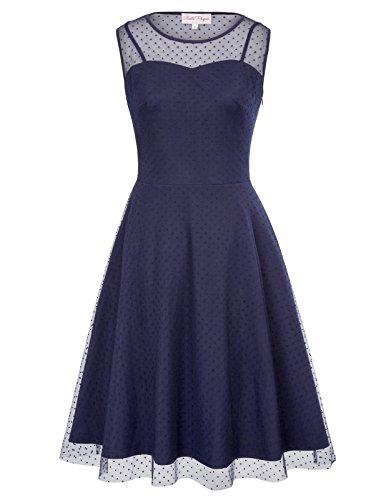 Belle Poque Cute Polka Dot Vintage Cocktail Dress S BP480-2