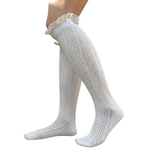 Lace Boot Socks Knee High Socks Ruffled Lace Trim & Buttons Leg Warmers for Boots (White)