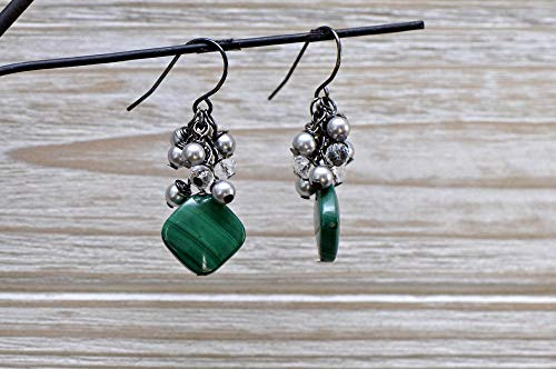 Green Malachite stone earring with crystals and -