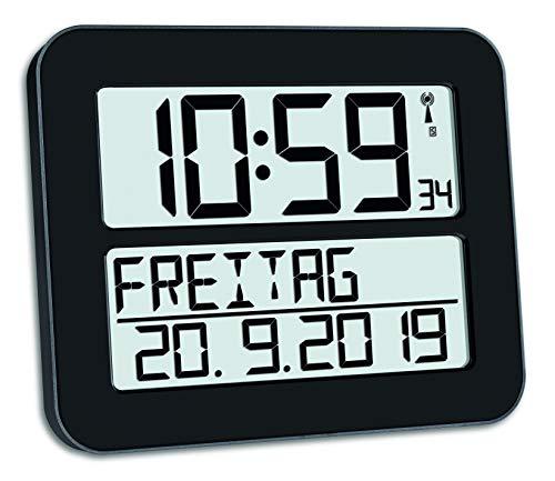 TFA Dostmann TimeLine Max wandklok digitaal, 60.4512.01, radiogestuurd, met datum en werkdag, gemakkelijk te lezen, (L…