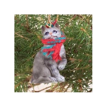 Amazon.com: 1 X Silver Shorthaired Tabby Cat Christmas Ornament by ...