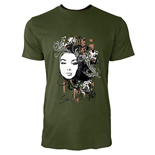 SINUS ART® Collage mit Frau und dekorativen Elementen Herren T-Shirts in Armee Grün Fun Shirt mit tollen Aufdruck