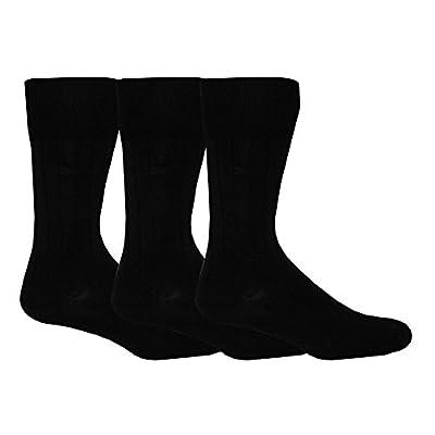 Calvin Klein 3-Pack Fine Cotton Ribbed Men's Socks, Black