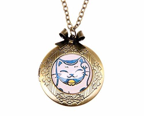 Necklace locket,chat japonais,glass jewelry locket,exquisite pendant,space pendant,bronze photo locket necklace,copper pendant locket