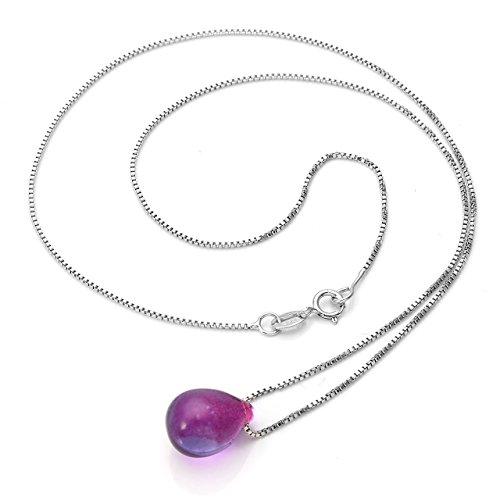 Top Plaza Women Ladies Elegant Simple Mini Mermaid's Tears Drop Glass Alloy Chain Unadjustable Pendant Necklace,Valentine's Day Birthday Gift For Couple Girlfriend(Purple)