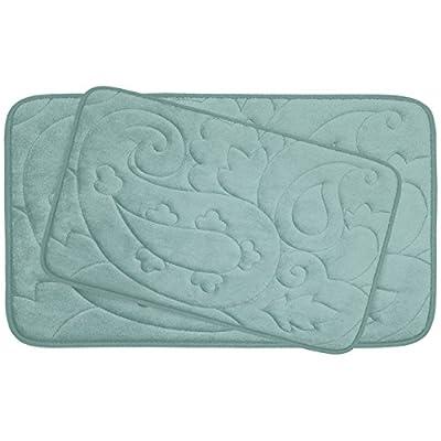 """Bounce Comfort 2 Piece Pelton Micro Plush Memory Foam Bath Mat Set, 20 by 32"""", Aqua - Set includes (2) Bounce Comfort plush memory foam bath mats Safe, skid and slip resistant construction Set includes (1) 20x32 in. and (1) 17x24 in. mat - bathroom-linens, bathroom, bath-mats - 41i1QpzjlwL. SS400  -"""