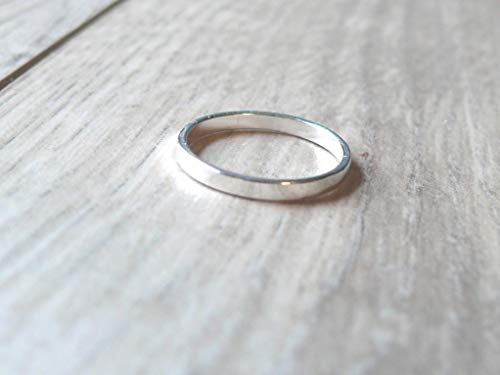 Flat Silver Band | 925 Sterling Stacking Ring | Wedding Anniversary