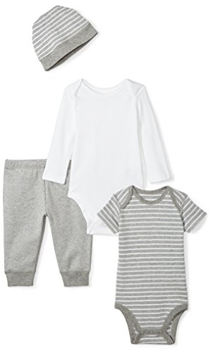 Moon and Back Baby 4 Piece Organic Playtime Gift Set, Grey Heather, 3-6 Months
