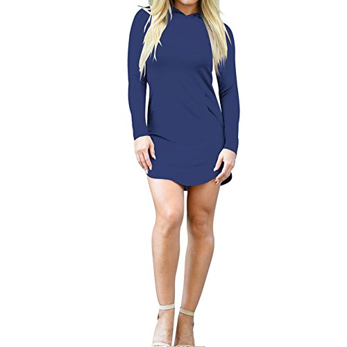 T Dress Sweatshirt Blouse Hoodies Pocket Navy Tops Bodycon4U Shirt blue Women's Hoodie 60wHqntnzS