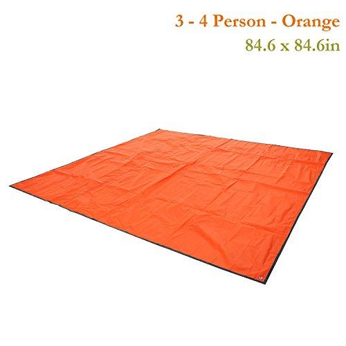 Multipurpose Waterproof Tent Tarp Footprints Outdoor Camping Shelter Canopy Cover Blanket Mat (Orange 7×7 ft)