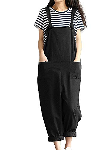 Sobrisah Women's Plus Size Linen Overalls Baggy Adjustable Strap Sleeveless Jumpsuits Casual Loose Wide Leg Dungarees…