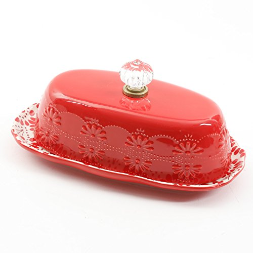 Pioneer Woman 8 Inch Floral Bursts Butter Dish - Mall Land Sugar