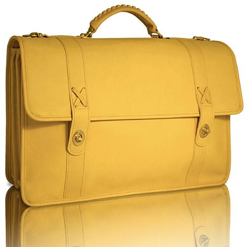 Jack Georges Baseball Triple Gusset Flap Over Leather Briefcase in (Leather Triple Gusset Flap)