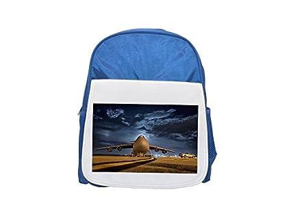 Avión, avión, Jet, base aérea, Aeropuerto impreso Kid s azul mochila
