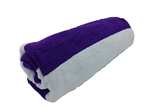 - byLora Terry Cotton Cabana Beach Pool Towels, Purple/White