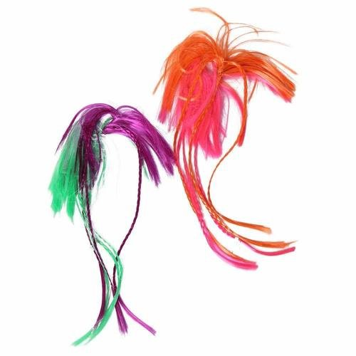 Two-Tone Neon Hair Attachment Fairy Princess Pop Star Diva Hair Scrunchies - Assorted 2 Pack