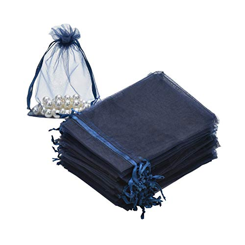 SHEING 100pcs Sheer Organza Bags Jewelry Pouches Wedding Party Valentine Christmas Favor Drawstring Gift Bags (Navy Blue, 3 x 4 Inch)