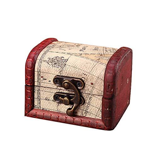 Wood Handmade Box with Mini Metal Lock for Storing Jewelry Treasure Pearl Housekeeping & Organizers (D) ()