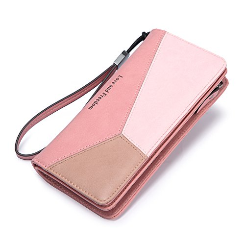 Women Wallet Leather Long Bifold Wristlet Clutch Fashion Ladies Purse Card Holder Organizer with Zipper Buckle pink