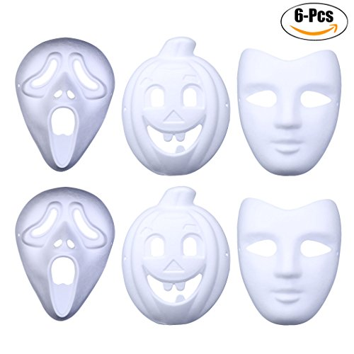Funpa 6PCS DIY Craft Mask Costume Mask Creative Blank Painting White Mask Full Face Paper Mask for Kids
