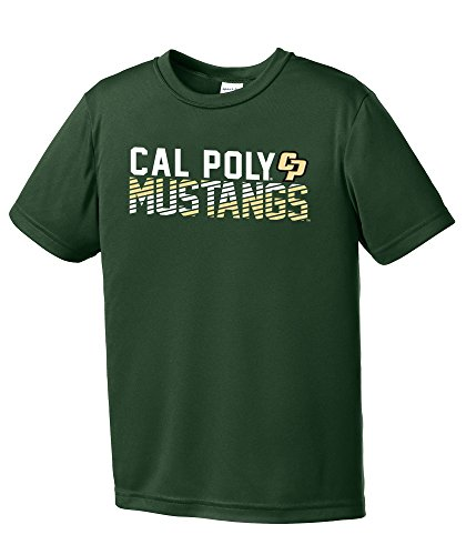 NCAA Cal Poly Mustangs Youth Boys Diagonal Short sleeve Polyester Competitor T-Shirt, Youth Small,ForestGreen