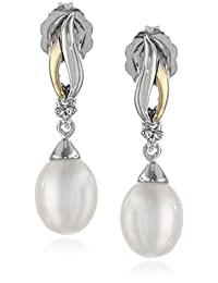 Sterling Silver and 14k Yellow Gold Freshwater Cultured Pearl and Diamond-Accent Linear Drop Earrings