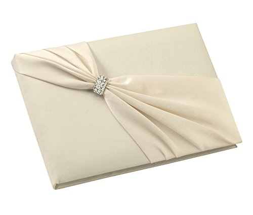 Lillian Rose Elegant Jeweled Ivory Satin Wedding Guest Book