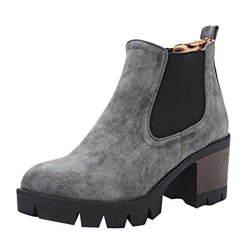 Chaussures Mee Glissement Occasionnel Des Femmes Sur Le Talon Bloc Bottes Courtes Gris