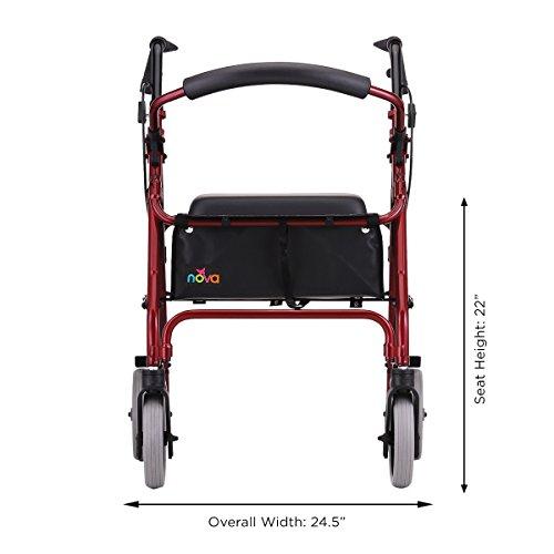 NOVA 22'' Zoom Rollator Walker, Red by NOVA Medical Products (Image #2)