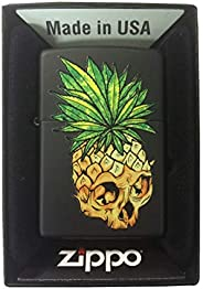 Zippo Custom Lighter - Black Matte Pineapple Skull Leaf Fire Eyes Punk Fruit Design