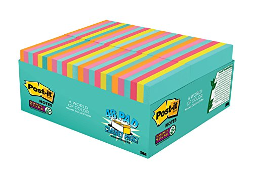 "Post-it Super Sticky Notes, 3"" x 3"", Miami Collection, 48 Pads per Pack, 70 Sheets per Pad (654-48SSMIA-CP)"